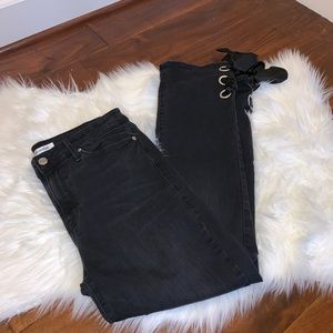 Good American Straight Leg Ankle Lace-Up Jeans